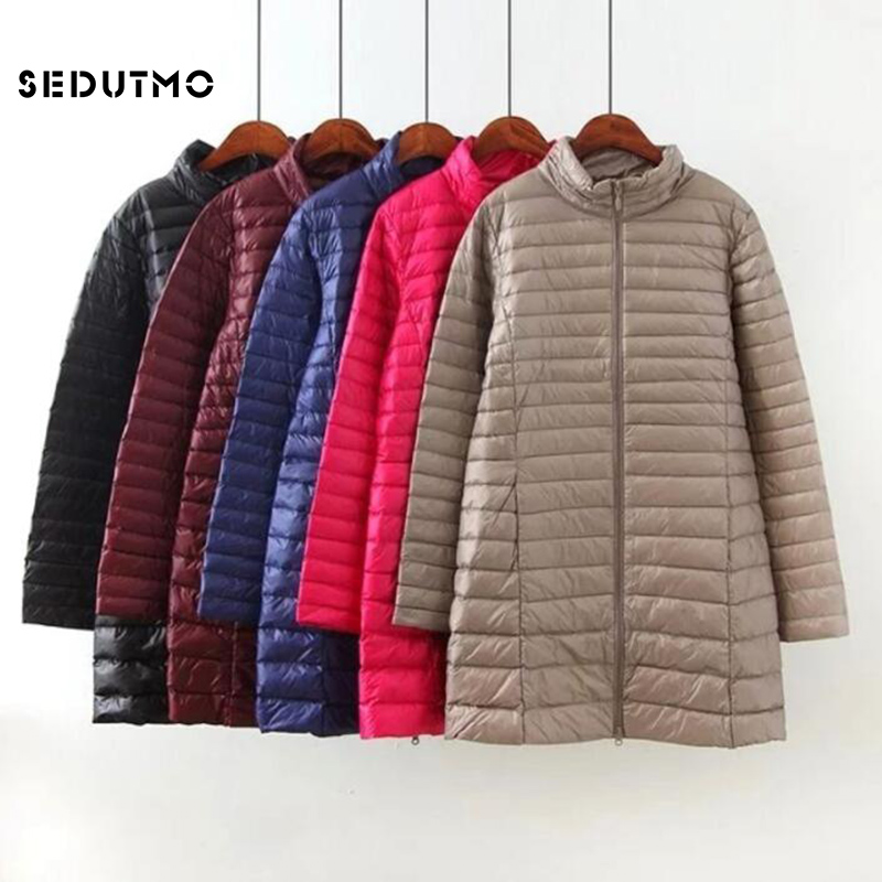 SEDUTMO Winter Plus Size 4XL Down Jackets Women Long Ultra Light Duck Down Coat Slim Puffer Jacket  Autumn Parkas ED619