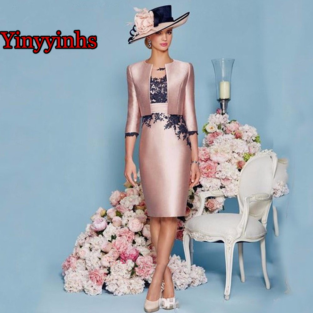 Lace Mother Of The Bride Dresses Knee Length 2 Piece With Jacket Mother Dress High Quality Satin Wedding Party Groom Mother Gown
