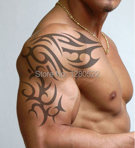 2ks / Lot osobně Dočasné velké tetování Totem vodotěsné rameno Big Tattoo samolepky Muži Ženy Doprava zdarma