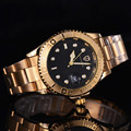 Мужские наручные часы  роскошные золотые кварцевые часы с календарем  2017
