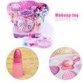 Muchachas de los cabritos divertido juguete maquillaje caja de cosméticos sombra de ojos lápiz labial anillos pretend play toys