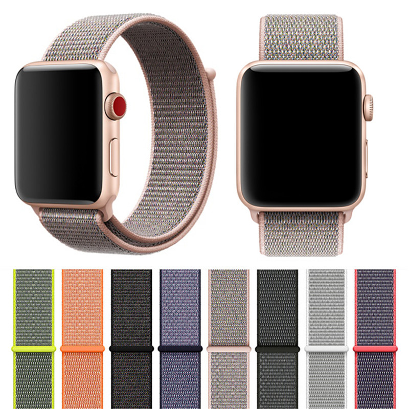 Classic Sport Nylon Loop Strap for Apple Watch Band 38mm 42mm Woven Fabric Adjustable Closure Soft Silicone Replacment Straps watchbands soft leather loop band for apple watch 38mm 42mm strap adjustable magnetic closure loop watchbands for iwatch sport