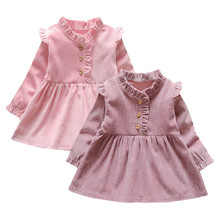 Toddler Kid Baby Girl Long Sleeve Solid Party Princess Dress