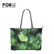 FOURDESIGNS Big Capacity Women's Shoulder Bags Top-handle Handbags Leather Palm Trees Printing for Travel Design Bolsa Feminina