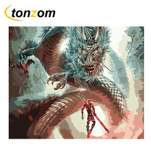 RIHE Man Facing Dragon Diy Painting By Numbers Oil Painting Battle Cuadros Decoracion Acrylic Paint On Canvas Modern Wall Art facing the modern