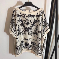 Summer Batwing Sleeve T Shirt Women 100% SILK Tee Top Casual Shirts Print Female Tops