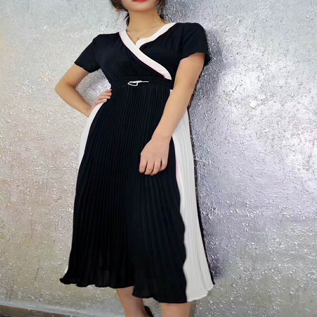 Blackd White Dress Evening Long Sleeve Pleated Black Dress Shirt