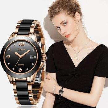SUNKTA 2019 New Luxury Women Watches Rose gold Ceramic Diamond Ladies Female Watch Gift Quartz Wristwatch Clock Montre Femme