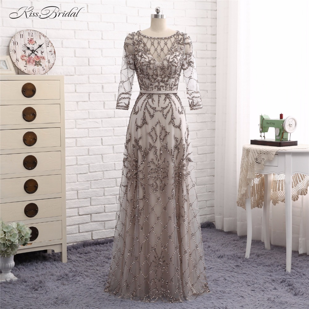 Abendkleider Grey   Evening     Dresses   Long A Line Scoop Long Sleeve Crystal Beaded Formal Party Prom Gown Robe de Soiree 2017