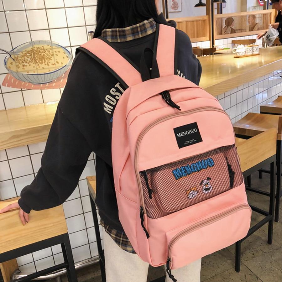 Casual Large Capacity Women Backpacks Two-piece Set Students Schoolbags Harajuku Backpacks Women Mesh Design Bookbags School Bag