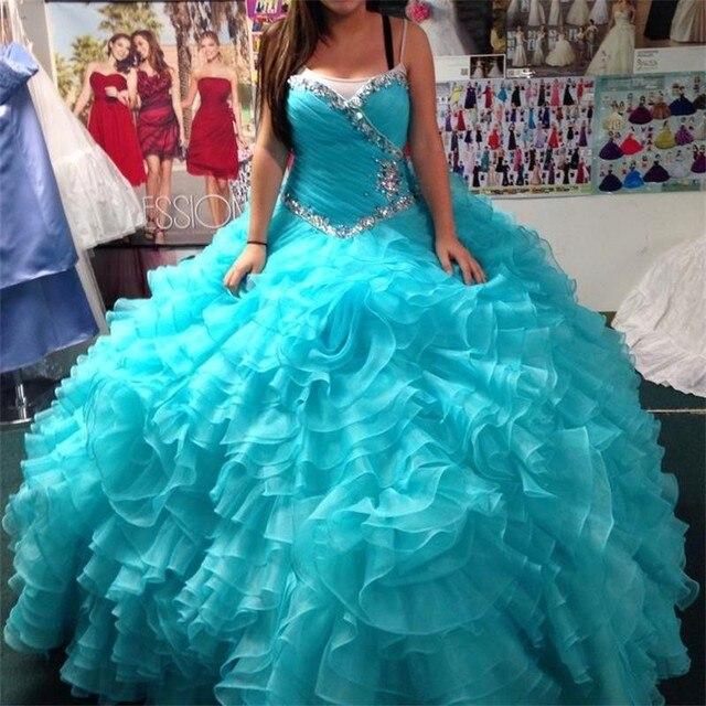 Vestidos De Doce 16 Anos Cristal Quinceanera Vestido 2017 Elegante vestido de Baile Em Camadas de Organza Longo Azul Formal Do Partido Pageant Vestidos