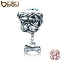 BAMOER Genuine 925 Sterling Silver Cute Bulldog Dog Beads Doggy Blue CZ Charms Fit Women Bracelets
