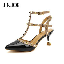 JINJOE Sexy shoes Woman Summer Buckle Strap Rivet Sandals High-heeled shoes Pointed toe Fashion fashion Single High heel 6.5cm new europe popular street beat rivet shoes high heeled catwalk sexy rome ankle buckle strap pu heel 12cm woman pumps 6368w