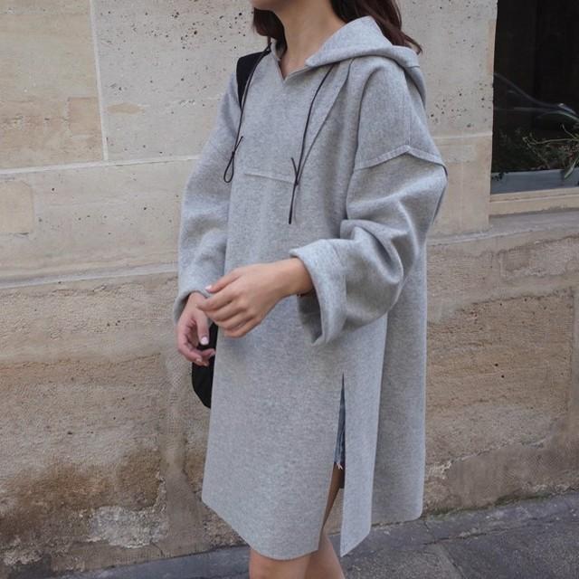 2016 Outono e Inverno Novas Mulheres Coreanas Casaco Com Capuz Divisão Lado Longo de Lã Com Capuz Camisola Hoodies Vestido