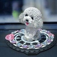 Cartoon Nodding Dog Teddy Shaking Head Car Ornaments Air Freshener Perfume Puppy Figurines Dog Doll Toys Ornament