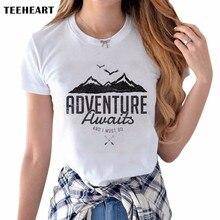 Latest Women's Creative T-shirt Retro Adventure Mountain Printing Tee Shirts Hipster O-neck Short Sleeve Casual Popular Tops