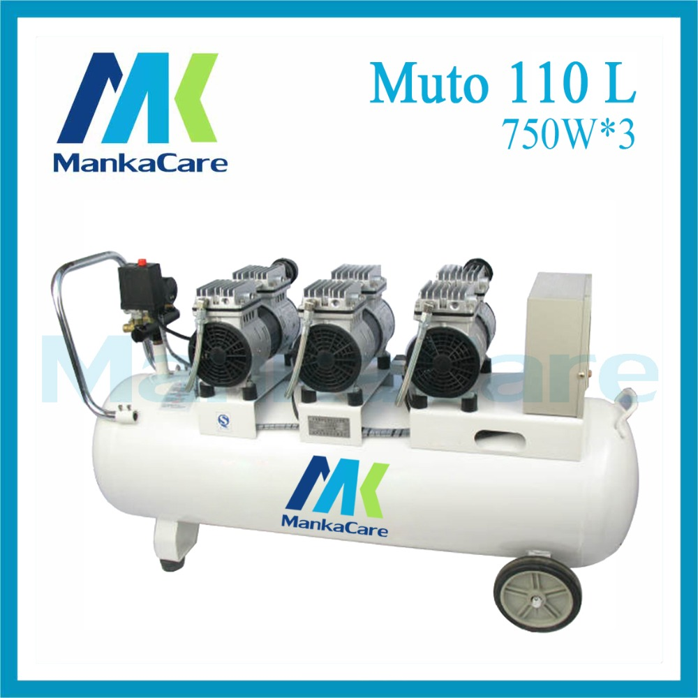 Manka Care - 110L 750W*3 Dental Air Compressor/Printing in Tank/Rust-Proof Chamber/Silent/Oil Less/Oil Free,/Compressing Machine manka care 110v 220v ac 33l min 80 w oil free diaphragm vacuum pump silent pumps oil less oil free compressing pump