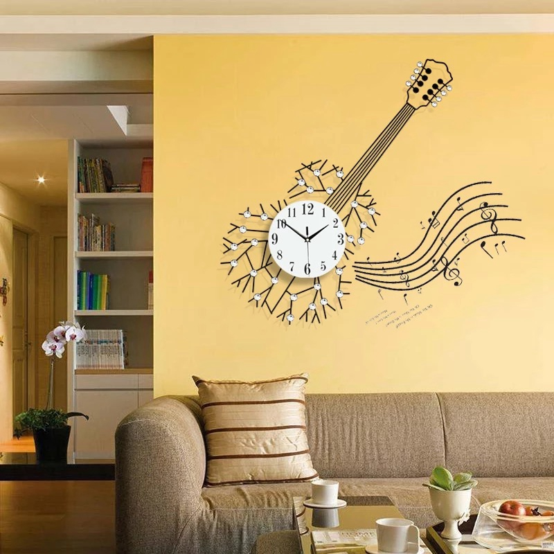 3D Big Wall Clock 34pcs Diamonds Living Room Modern Design Large ...