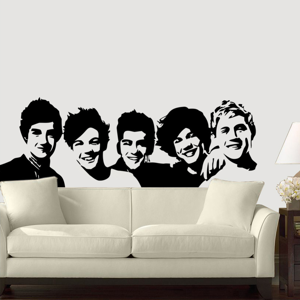 One Direction Wall Sticker 1D Poster Girls Bedroom Living Home Decoration Pictures Removable Art Wallpaper Vinyl Decals In Stickers From