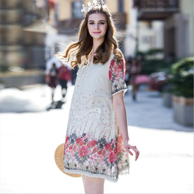 ФОТО plus size summer maternity clothes chiffon lace short sleeve printed maternity dresses european style loose pregnant dress