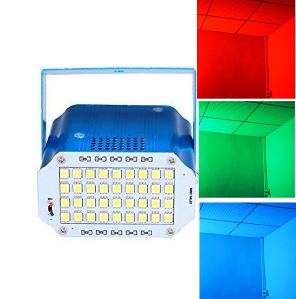 aobolighting Mini 36 LEDs Stage Strobe Flash Lights for Disco Party Haunted House Lighting Magical Show,RGB color or White Color
