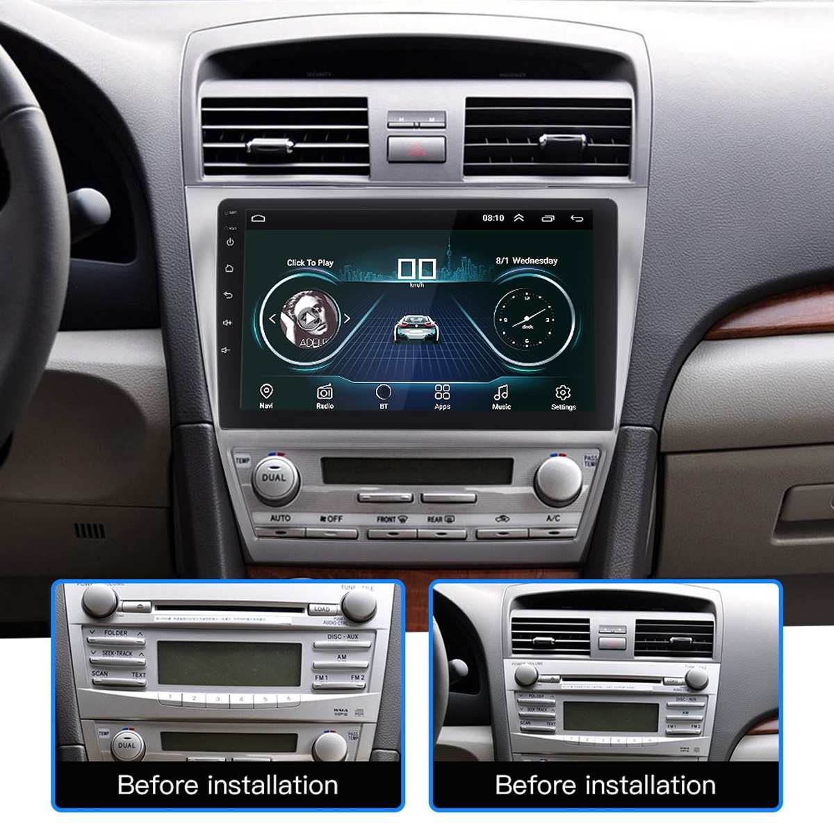 """Gray 9/"""" Android 9.1 Radio Stereo MP5 GPS WIFI 3G 4G For Toyota Camry 2007-2011"""