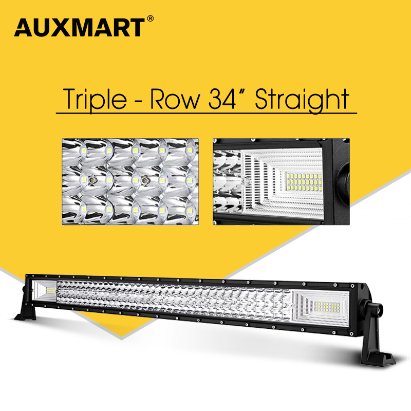 AUXMART Straight LED Light Bar Offroad 34inch 3-Row 486W Combo Beam Led Work Light Driving Led Bar Truck PickUp SUV 4X4 12v 24v