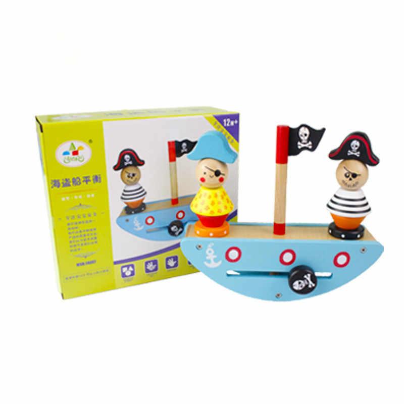 Bambino Blocchi Di Legno Per Bambini Nave Pirata Giochi per Bambini Montessori Giocattoli Educativi Di Legno Building Block Equilibrio Giocattoli di Legno