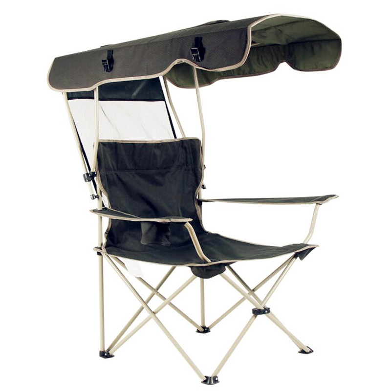 2018 new outdoor creative portable folding chair Detachable awning Thicker steel pipe Double Oxford cloth fishing beach chair seat oxford cloth lightweight 3 in 1 outdoor portable multifunctional foldable cooler bag chair backpack fishing stool chair