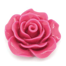 "Resin Embellishments Findings Flower Fuchsia 18mm( 6/8"") x 19mm( 6/8""), 5 PCs new(China)"