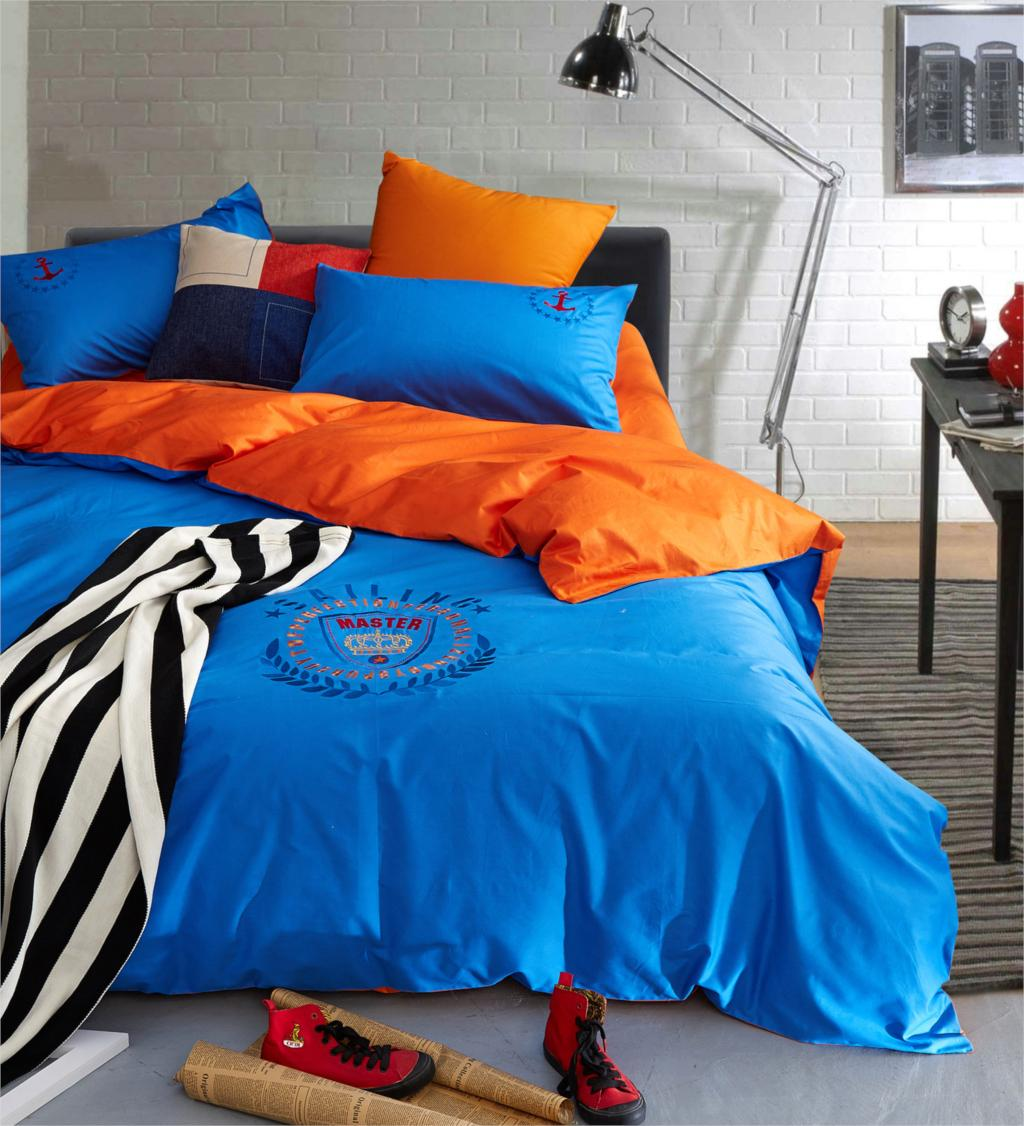 Brown and orange bedding - Embroidery Blue Pink Brown Red American Style Bedding Set Queen King Size Home Textile 4pcs Bed Set High Quality Duvet Cover Set