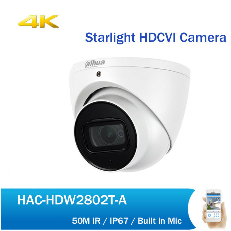 DH HDCVI Camera HAC-HDW2802T-A 4K Starlight IR Dome Eyeball Camera IP67 50M IR Full HD Coaxial Security CCTV Camera dahua outdoor indoor hdcvi camera dh hac hdw1100e 1mp hd network ir security cctv dome camera ir distance 40m hac hdw1100e ip67