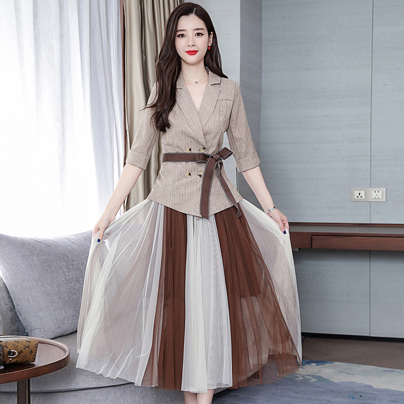 2019 Two Piece Sets Outfits Women Office Suit With Belt And Pleated Skirt Suits Vintage Korean Ladies 2 Piece Sets Femme 32