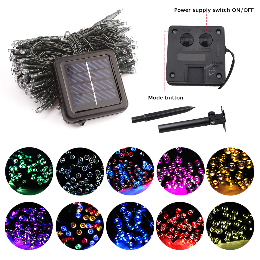 Leclstar 50/100/200 Led Solar Fairy Lights Outdoor Waterproof Street Garland Houses