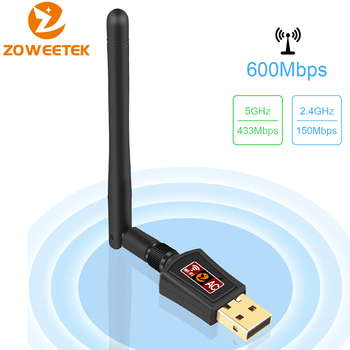 Zoweetek Wireless Mini Wifi Adapter 600Mbps 802.11Ac Dual Band 2.4G/5G Usb Network Ethernet Receiver 2Dbi Antenna For Pc Phones