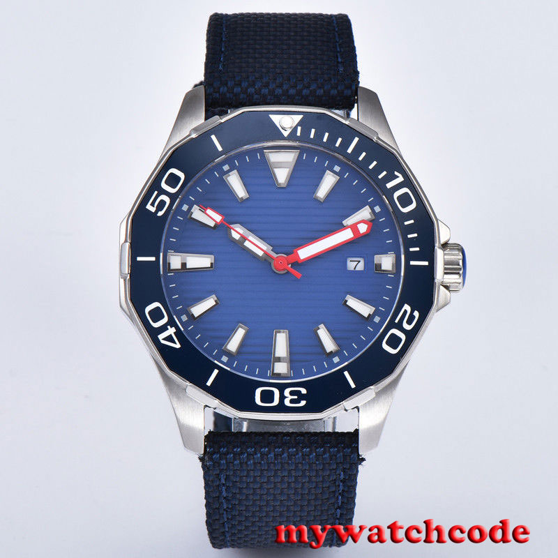 new arrive 45mm planca blue dial Sapphire glass Ceramic bezel miyota 8215 automatic mens watch