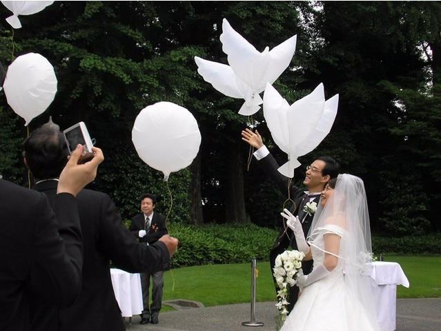 50 sztuk latające białe Dove, balony, ślub, Globos Balao Dove balony pokój ptak piłka gołębie gołąb pokoju balony foliowe w Balony i akcesoria od Dom i ogród na  Grupa 1