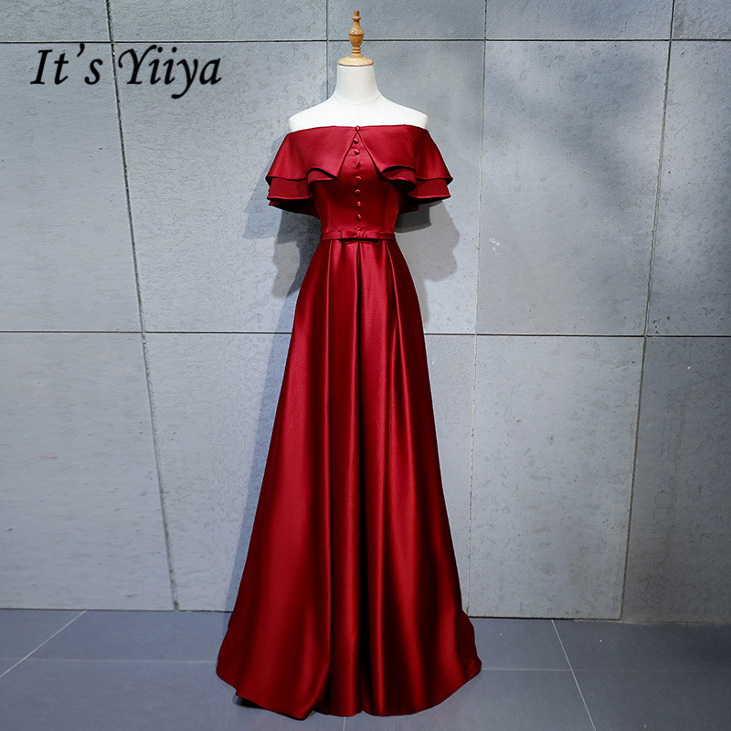 It's YiiYa   Evening     Dress   2019 Wine Red Ruffles Bot Neck Lace Up Floor-length A-line Formal Gowns XH008 robe de soiree