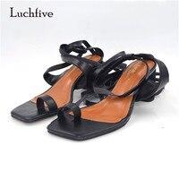 Luchfive Nuevo Estilo Cuadrado Toe Zapato con Cierre de Gladiador Sandalias Mujeres Rodean Med Tacón Grueso Todo Igualados Zapatos de Verano