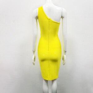 Image 4 - Plus Size XL XXL Newest Sexy One Shoulder Yellow Rayon Bandage Dress 2020 Knitted Elastic Elegant Party Dress