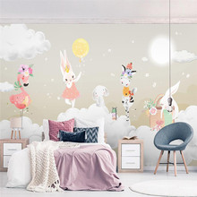 Nordic wallpaper simple fashion elegant balloon bunny childrens room background wall painting high-grade waterproof material