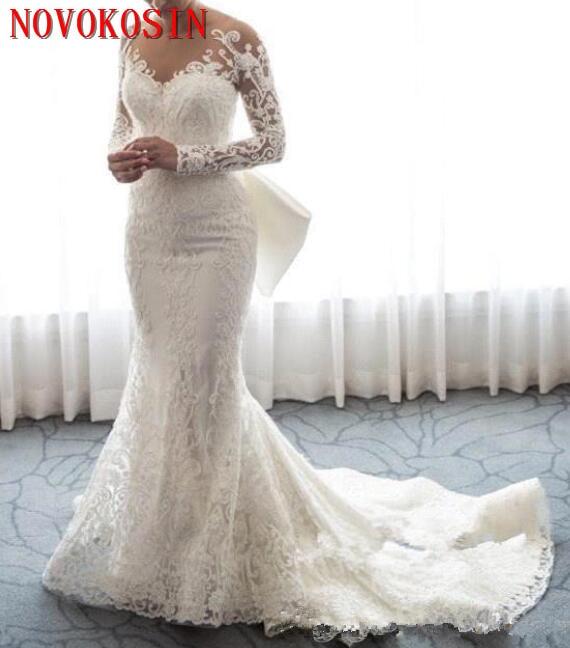 Mermaid Wedding Dresses 2019 Long Sleeve Appliques Bridal Gowns Robe De Mariee