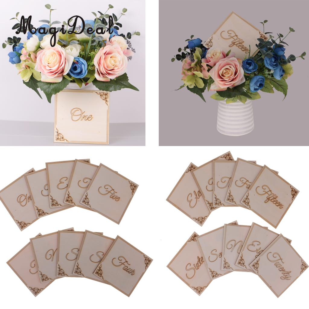 MagiDeal 20pcs/Set Wooden Table Number Signs Wedding Centerpiece Decor One-Twenty
