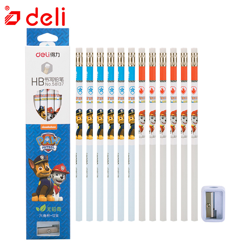 Deli 12pcs/set Writing Pencil Student Stationery Set Standard Pencil + Pencil Sharpener Kids Cute Dog Gifts School Supplies цена
