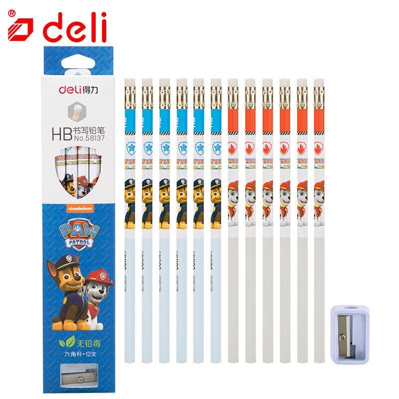 Deli 12pcs/set Writing Pencil Student Stationery Set Standard Pencil + Pencil Sharpener Kids Paw Patrol Gifts School Supplies
