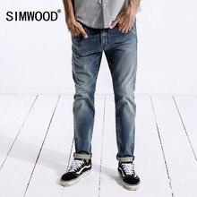 6757498f00 SIMWOOD Brand Jeans para hombre 2018 moda Casual pantalones de mezclilla  hombres algodón pantalones flacos vaqueros rectos clási.