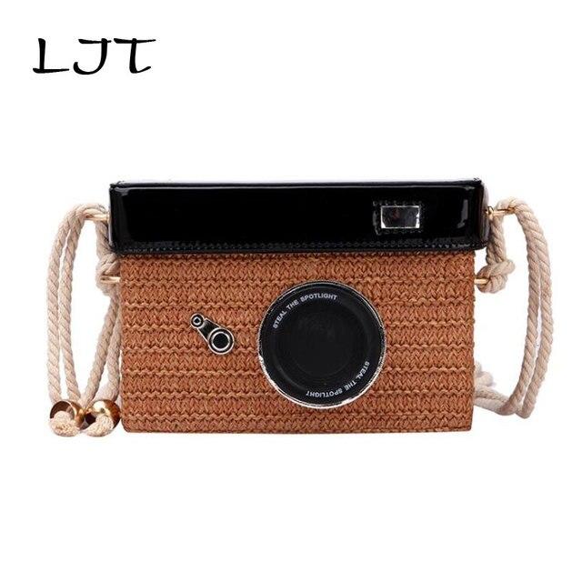 LJT Weaving Fashion Summer Camera Shape Rattan Straw Box Small Bag For Women 2019 Chain Shoulder Messenger Bag Handbag Totes