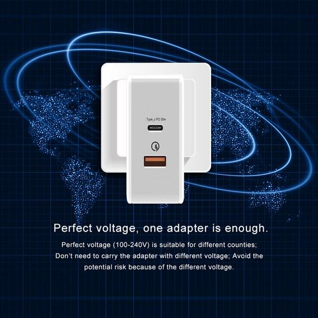T-phox 30 Вт USB PD зарядное устройство типа C Мощность доставки Quick Charge 3.0 адаптер дорожный стены зарядные устройства для iPhone8, 8 P, X