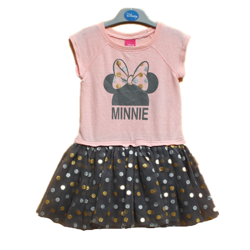,6pieces/lot 2-6X little girls minnie mouse dress,Minnie dress with dots,short-sleeved cute dress for summer