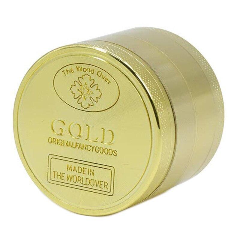 40mm 50mm 3layer 4 Layer Gold Herb Grinder  Metal Tobacco Smoke Smoking Pipe Accessories Crusher